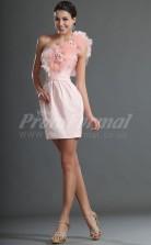 Pearl Pink Tulle, Chiffon Sheath One Shoulder Short/Mini Cocktail Dresses(PRJT04-0397)