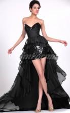 Black Chiffon,Sequined Sheath Sweetheart Hi-Lo Cocktail Dresses(PRJT04-0403)