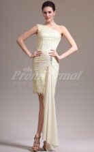 Champagne Lace,Chiffon Sheath One Shoulder Short/Mini Cocktail Dresses(PRJT04-0458)