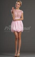 Blushing Pink Chiffon Princess Bateau Short/Mini With Sleeves Cocktail Dresses(PRJT04-0459)