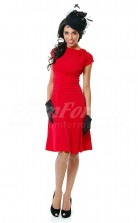Red Knitwear A-line Bateau Knee-length With Sleeves Cocktail Dresses(PRJT04-0465)