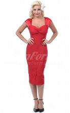 Red Satin Charmeuse  Sheath Sweetheart Tea-length With Sleeves Cocktail Dresses(PRJT04-0469)