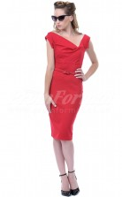 Red Satin Chiffon Sheath Off The Shoulder Knee-length With Sleeves Cocktail Dresses(PRJT04-0471)