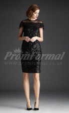 Black Sequined Sheath Off The Shoulder Short/Mini With Sleeves Cocktail Dresses(PRJT04-0474)