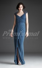 Ink Blue Satin Chiffon Trumpet/Mermaid V-neck Long Split Front With Sleeves Cocktail Dresses(PRJT04-0479)