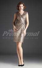 Gold Sequined Sheath V-neck Short/Mini Cocktail Dresses(PRJT04-0480)