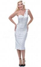 Silver Sequined Sheath One Shoulder Tea-length Cocktail Dresses(PRJT04-0485)