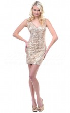 Gold Sequined Sheath V-neck Short/Mini Cocktail Dresses(PRJT04-0487)