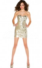 Gold Sequined Sheath Sweetheart Short/Mini Cocktail Dresses(PRJT04-0490)