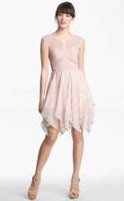 Blushing Pink Chiffon A-line Jewel Hi-Lo With Sleeves Cocktail Dresses(PRJT04-0492)
