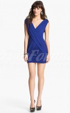 Royal Blue Knitwear Sheath V-neck Short/Mini With Sleeves Cocktail Dresses(PRJT04-0495)