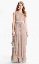 Nude Lace,Chiffon A-line Bateau Long Cocktail Dresses(PRJT04-0497)