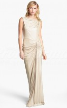 Champagne Knitwear Sheath Bateau With Pleats Long Cocktail Dresses(PRJT04-0498)