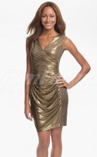 Gold Sequined Sheath/Column V-neck Short/Mini Cocktail Dresses(PRJT04-0500)