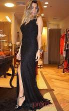 Trumpet/Mermaid Black Spendex V-neck Sleeveless Floor-length Plus Size Dress(PLJT8008)