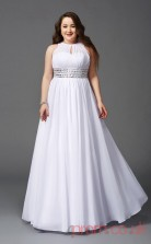 A-line White Chiffon Halter Sleeveless Floor-length Plus Size Dress(PLJT8012)