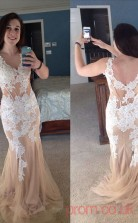 Trumpet/Mermaid Champagne Lace V-neck Sleeveless Floor-length Plus Size Dress(PLJT8015)