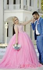 Trumpet/Mermaid Dark Pink Charmeuse,Tulle Sweetheart Sleeveless Floor-length Plus Size Dress(PLJT8017)