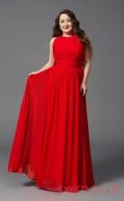 A-line Red Chiffon Jewel Sleeveless Floor-length Plus Size Dress(PLJT8022)