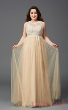 A-line Pale Goldrenrod Satin Chiffon Bateau Sleeveless Floor-length Plus Size Dress(PLJT8023)