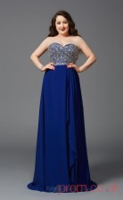 A-line Royal Blue Tulle,Lace Sweetheart Sleeveless Floor-length Plus Size Dress(PLJT8024)