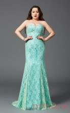 A-line Midium Turquoise Chiffon Sweetheart Sleeveless Floor-length Plus Size Dress(PLJT8026)