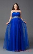 A-line Royal Blue Chiffon Strapless Sleeveless Floor-length Plus Size Dress(PLJT8030)