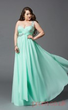 A-line Aquamarine Satin Chiffon One Shoulder Sleeveless Floor-length Plus Size Dress(PLJT8033)
