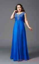 A-line Light Royal Blue Chiffon V-neck Short Sleeve Floor-length Plus Size Dress(PLJT8034)