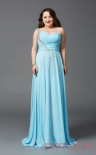 A-line Deep Sky Blue Satin Chiffon One Shoulder Sleeveless Floor-length Plus Size Dress(PLJT8035)