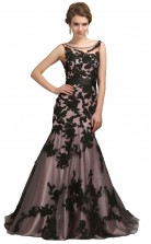Hot Sale Scoop Black Long Lace Mermaid Prom Dress(PRJT04-0943)