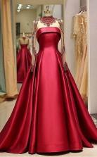 Long Sleeve Prom Dress High Neck Burgundy Long Prom Dress   JTA0021