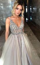 Deep V Neck Long Saprkly Open Back Slit Prom Evening Dress   JTA0031