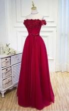 A Line Off The Shoulder Burgundy Hand-Made Flower Prom Dress   JTA0041
