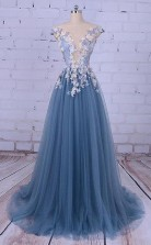 Scoop A Line SweepBrush Train Long Prom DressEvening Dress   JTA0051
