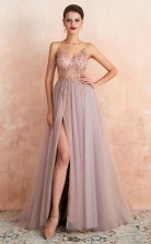Straps A Line Beading Rose Split Tulle Prom Dress with Crystal   JTA0061
