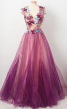 A line Scoop neck Appliqued Burgundy Tulle Flower Prom Party Dress  JTA0071