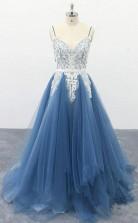 Spaghetti Straps A Line Ivory Appliqued Blue Tulle Prom Dress  JTA0091