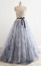 A Line Gray Rround Neck Tulle Long Prom Dress Grey Evening Dress   JTA0101
