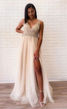 A Line Tulle Sexy Deep V Neck Side-Slit Beaded Long Prom Evening Dress   JTA0121