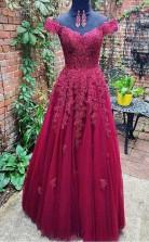 A Line Off Shoulder Burgundy Lace Tulle Prom Dress Formal Dress  JTA0151