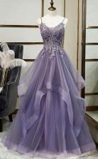 Unique Long Tulle Spaghetti Straps Layered Prom Dress With Lace Applique  JTA0171