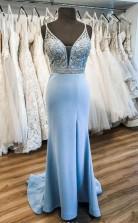 Sky Blue Satin V Neck Sweep Train Beaded Prom Dress Formal Dress JTA0191