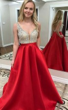 A Line V Neck Backless Floor-Length Red Satin Beaded Prom Dress JTA0201