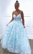 Blue Exquistie Lace Appliques Tulle A Line Long Prom Evening Dress  JTA0221