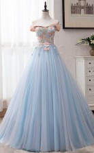 Blue Tulle Off-the-Shoulder Appliques Ball Gown Long Prom Dress JTA0271