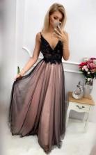 Black Bead Rhinestone Tulle V Neck Spaghetti Strap A Line Prom Dress JTA0301