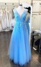 A Line V Neck Light Blue Lace Tulle Prom Formal Dress JTA0311