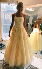 A Line Round Neck Yellow Tulle Lace Prom Dress Formal Dress  JTA0321