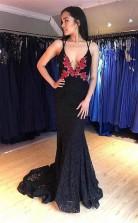 Sexy Deep V Neck Navy Blue Embroidery Lace Prom Evening Dress  JTA0351